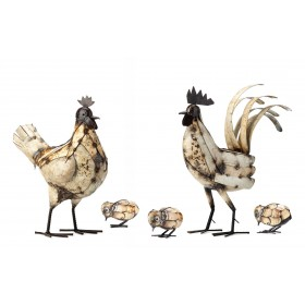 Cockerel, Hen & 3 Chicks