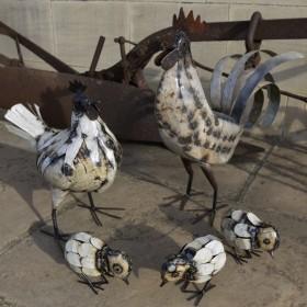 Cockerel, Hen & 3 Chicks